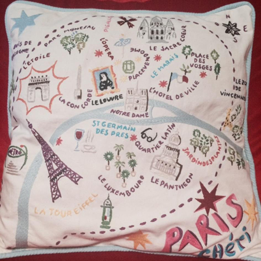 This pillow seems like the perfect souvenir for authentic travelers