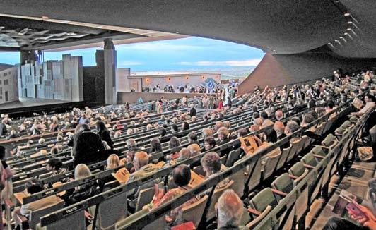 The magnificent Santa Fe Opera Theater offers dramatic scenery by itself!
