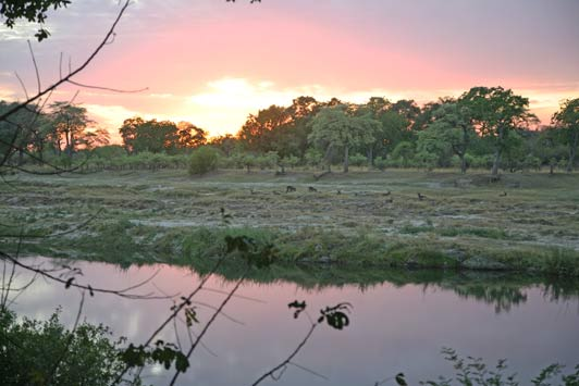 Sunset on the Zambezi River near Victoria Falls.