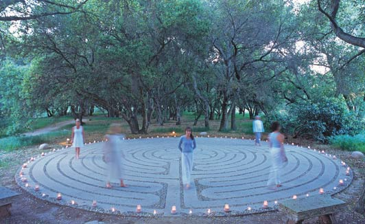Labyrinths, like this one at Rancho La Puerta, help create a sense of wellness.