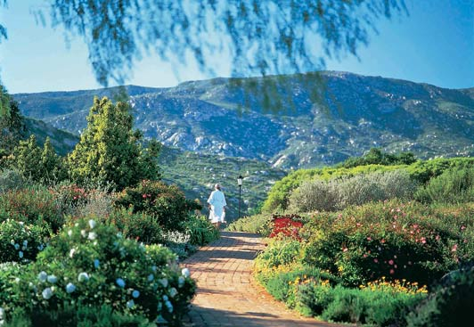 The landscaped gardens at Ranch La Puerta are in stark contrast to the rugged moutains that surround the spa.