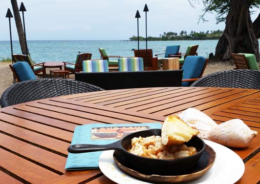 Sizzling shrimp served with an ocean view.