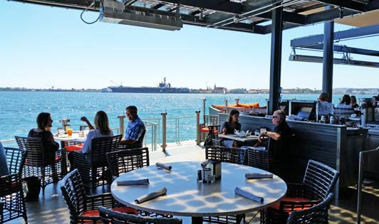 Eco-friendly solar panels shade the pation and provide energy to run the restaurant.