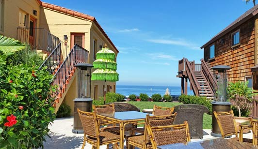 Shared spaces are popular with guests at Pantai Inn near La Jolla Cove.