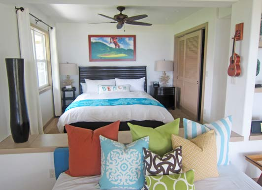 The Lava Lava Beach Club cottages come with king beds and beach views.