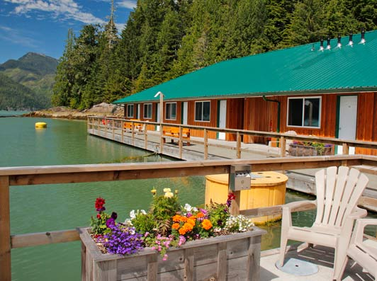 Knight Inlet Lodge guest rooms are modest but comfortable, with a private bath.