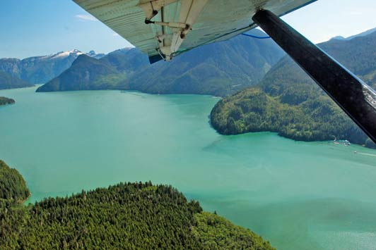 Our seaplane flight gave us fabulous views of the area, including this one of the lodge and Knight Inlet.