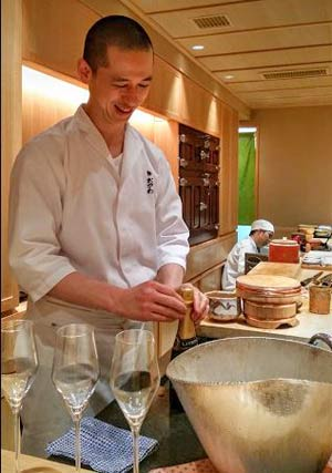 Our friendly head chef Ogawa-san before sushi service in Ginza.