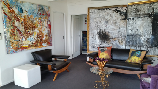Suzanne's art collection creates great energy in her Christchurch NZ apartment.