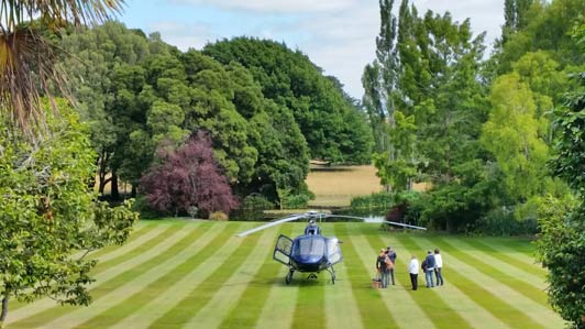 Guest arrive at Otahuna via road or helicopter.