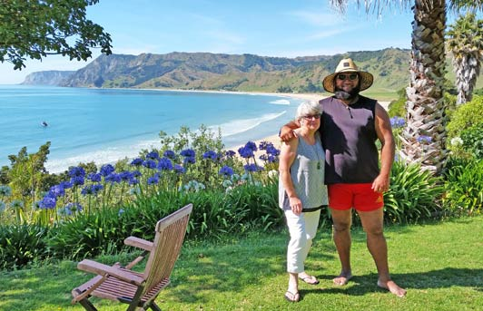 Some of our new friends from this trip: Judy Newell is the host of Rangimarie Beachstay on the East Cape and her neighbor Lehman Davies is a professional rugby player.