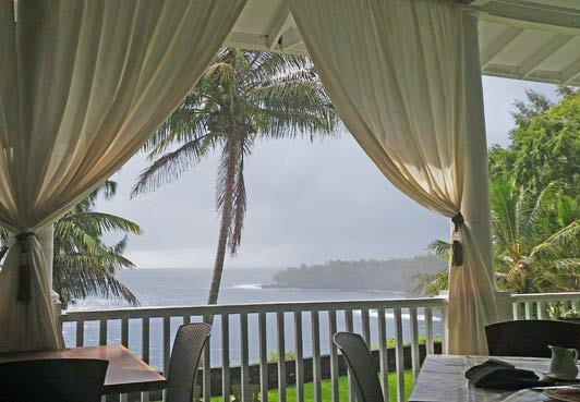 On our last trip to the Big Island of Hawaii, my goal was to stay in all aithentic lodging - with nary a corporate logo in sight. The trip planning wasn't easy, but it was well worth the effort. This is The Palms Cliff House just north of Hilo.