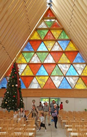 The Cardboard Cathedral is a few blocks from the landmark ChristChurch Cathedral that was badly damaged in 2011.