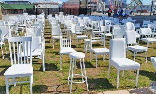 The 185 chairs memorial.