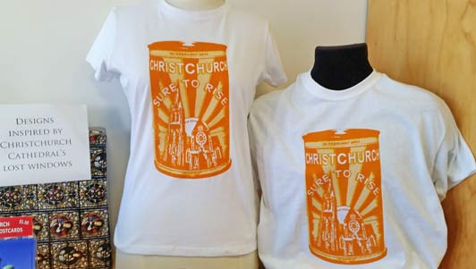 "Christchurch ""Sure to Rise"" tee shirts repurpose the slogan for NZ's iconic baking powder."