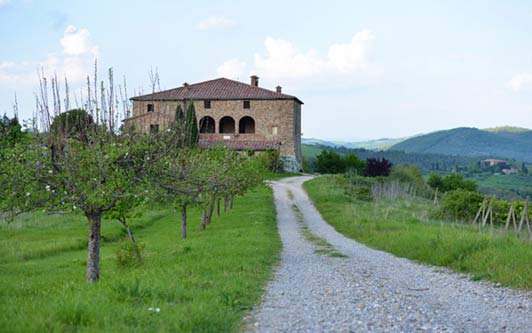 In Tuscany, Anne Marie's yoginis stay in Locanda Cugnanello - an 800 year old farmhouse.