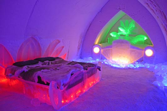 Every room in the Arctic Snow Hotel outside Rovaniemi, Finland, includes artwork done by local artists.