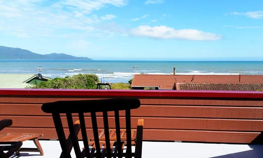 The New Zealand beach view from our room at Waikanae Beach B&B.