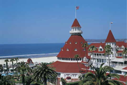 The Hotel Del Coronado is set on a beautiful white sand beach.