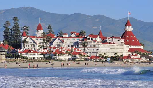 The Hotel del Coronado, an easily recognizable landmark, is one of the best hotels in the U. S.