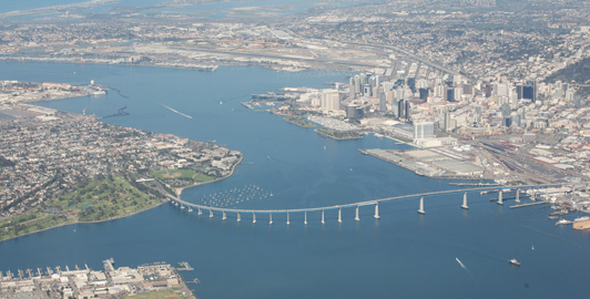 The San Diego - Coronado Bridge spans two miles across San Diego Bay.