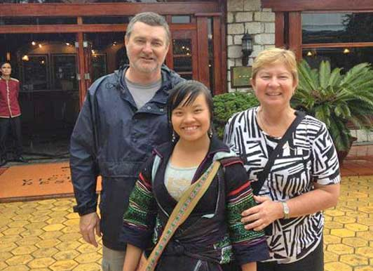 Donna and Rod Gaynor with their Vietnam Alive guide in Sapa, Vietnam.