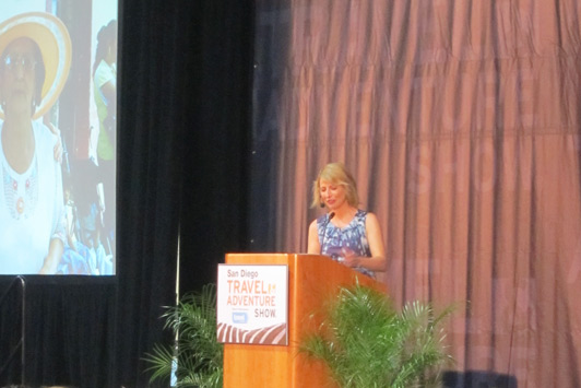 "Samantha Brown suggested ways the audience could ""travel better."""