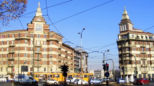 Liberty style buildings in Turin, Italy.