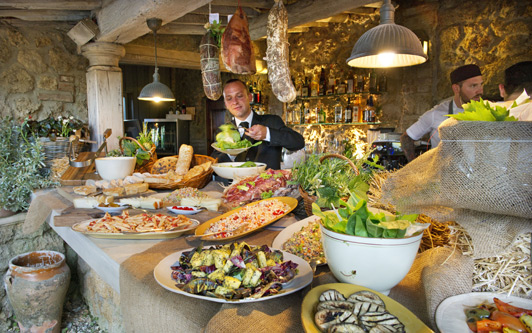 "The ""Farmers Buffet"" at Borgo Santo Pietro gives guests a good chance to sample local produce."