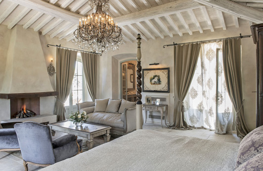 This is the Unicorn Suite at Borgo Santo Pietro, possibly the best romantic hotel in Tuscany.