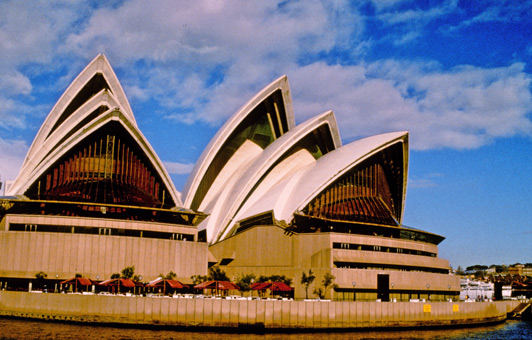 """The north side of the Sydney Opera House is a great place for lunch with a """"beaut"""" view of passing sailboats and myriad other watercraft."""