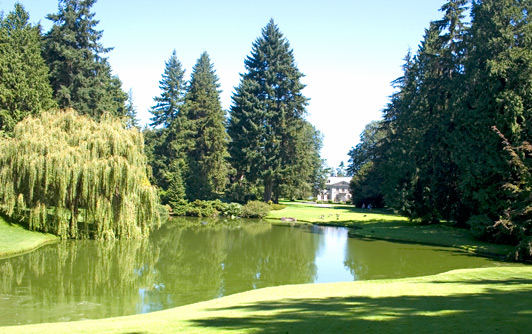 A stately mansion, flocks of Canada geese, and walking trails are popular features of Bloedel Gardens.