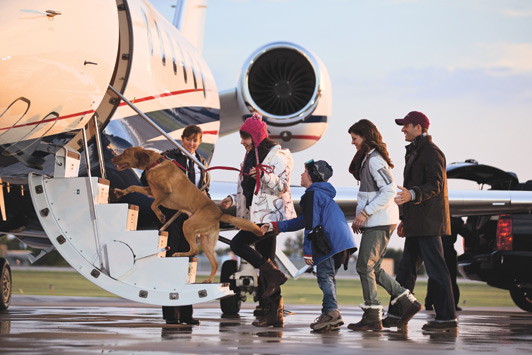Renting a private jet allows skiers more time on the slopes and less time in airports. Photo credit Flexjet.
