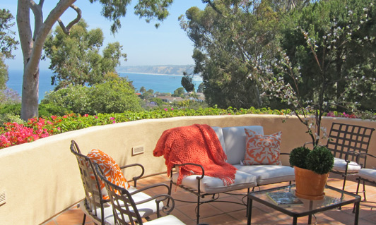 Many La Jolla gardens include cozy sit spots.