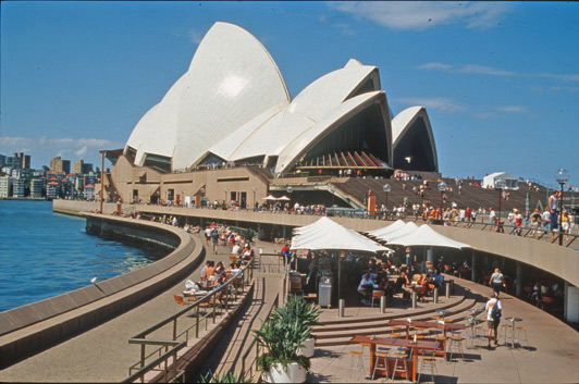 Opera Bar is located on the lower concourse of the Sydney Opera House.