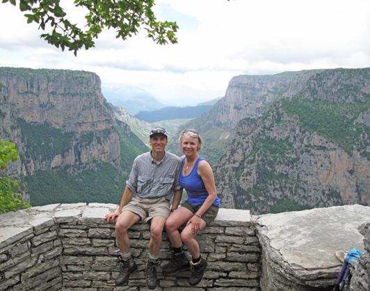 Helena and Dino walking Vikos Gorge near Beloi Outlook.