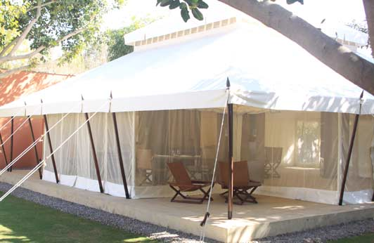 Aman-i-Khas, on the edge of Rathambore National Park, consists of 10 uber-luxurious tents.