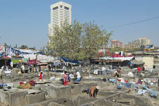 Dhobi Ghat is Mumbai's huge open-air laundry.