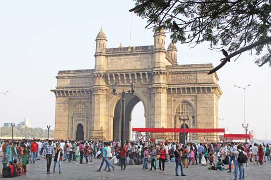 The Gateway of India is a monument built during the British Raj in Mumbai, India.