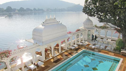 Guests of the Lake Palace Hotels are ferried back and forth by boat.